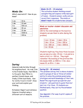 Grade 6 Ontario Math Three Part Lesson Measurement 1