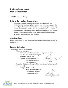 Grade 6 Ontario Math Three Part Lesson Measurement Area of Triangle