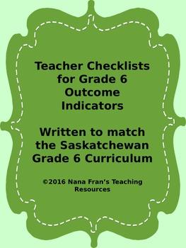 Grade 6  Outcome Indicators Checklist Bundle