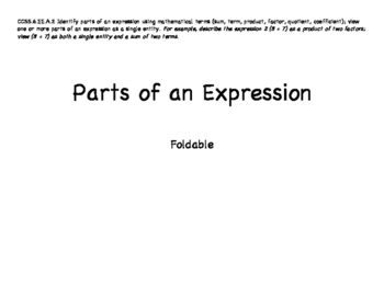 Grade 6: Parts of an Expresion Foldable