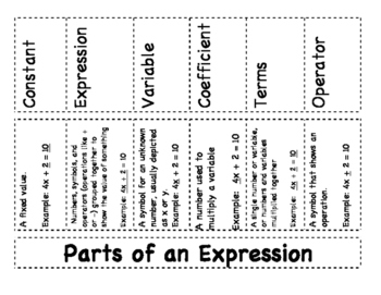 Grade 6: Parts of an Expresion Mini Unit
