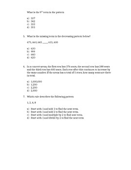 Grade 6 Patterning Test