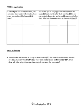 Grade 6 Patterning Test: relationships in patterns