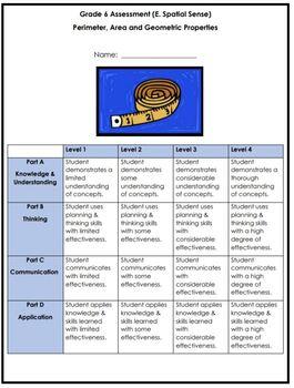 Grade 6 - Perimeter, Area & Volume Assessment