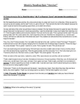 "Grade 6 Reading ""Hatchet"" by Gary Paulsen Assessment-Quiz- Worksheet"