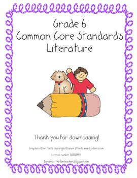Grade 6 Reading Literature Common Core Standards