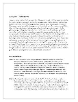 Grade 6 Report Card Comments (Term 1)