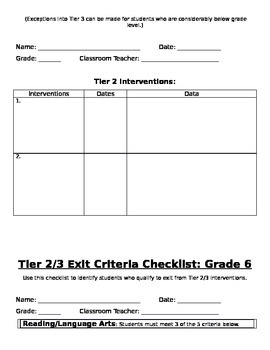 Grade 6: RtI Tier 2 & 3 Placement/Exit Criteria Checklist