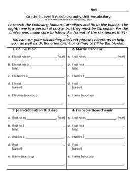 Grade 6 (SK Level 5) Autobiography Unit Famous Canadians Student Activity