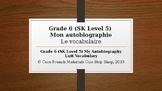 Grade 6 (SK Level 5) Core French Autobiography Unit Vocabulary PowerPoint