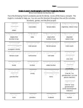 Grade 6 (SK Level 5) Autobiography Unit Prior Vocabulary Handout