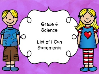 Grade 6 Science I Can Statements List