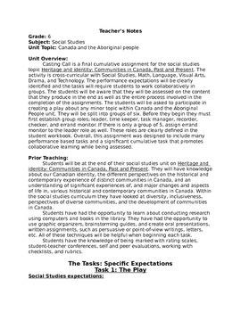 Grade 6 Social Studies Final Assessment Task (A - Heritage & Identity)