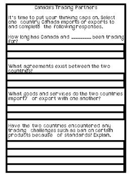 Grade 6 Social Studies (Ontario) - Canada's Trading Partners Project