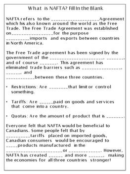 Grade 6 Social Studies (Ontario) - What is NAFTA?