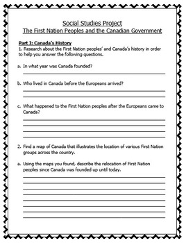 Grade 6 Social Studies Project - First Nations (Word Document - EDITABLE)