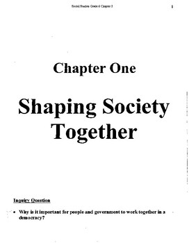 Grade 6 Social Studies Shaping Society Together Chapter 1 Unit