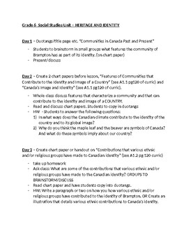 Grade 6 Social Studies Unit OUTLINE for daily lessons. Based on Many Gifts.