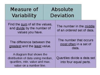 Grade 6 Statistics Vocab Sort