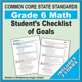 Grade 6 Student's 2-Page Checklist of Math Goals for CCSS