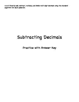 Grade 6: Subtracting Decimals
