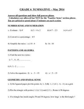 Grade 6 Summative Quiz
