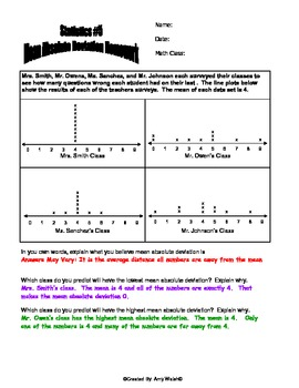Grade 6 - Two Mean Absolute Deviation Homeworks (with answer key)