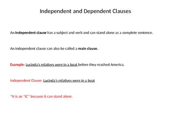 Grade 6 Unit 1 Grammar and Conventions: Independent and Dependent Clauses
