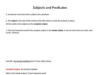 Grade 6 Unit 1 Grammar and Conventions: Subjects and Predicates
