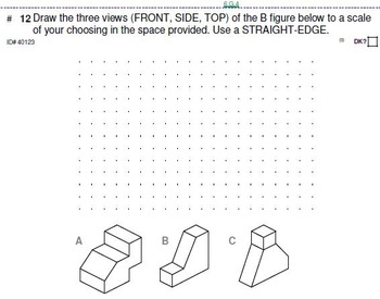 Grade 6 UNIT: Orthogonal Drawings & Nets (4 worksheets & 7 quizzes)