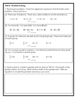 Grade 6 Variables, Expressions, and Equations Assessment