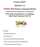 Grade 6, WHOLE YEAR Modules 1-6, Mid & End of Mod Reviews