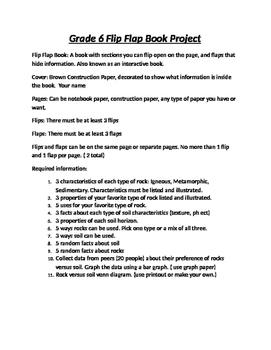 Grade 6 rock and soil project Flip Flap Book