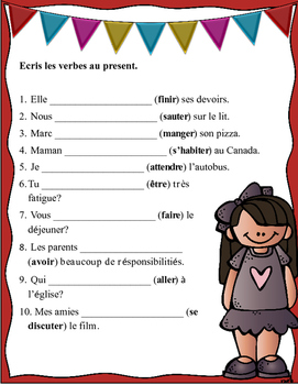 Grade 6 to 8 French Bell Work: Ecris les verbes au present