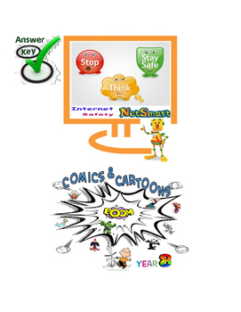 FREE-Grade 7,8,9 Year 7,8,9 E-safety Cyber Bullying Comics Cartoon QUIZ SOLUTION