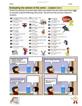 Grade 7,8,9 Year 7,8,9 E-safety Cyber Bullying  Comics Cartoons WORKBOOK Pt2