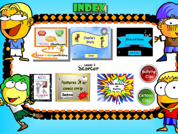 FREE-Grade 7,8,9 Year 7,8,9 E-safety Cyber Bullying  Comics Cartoons INDEX page