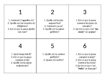 Grade 7&8 Core French Back to School Daily Questions Review Dice Game