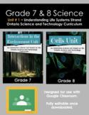 Grade 7 & 8 Science Unit Bundle (STRAND 1 - Understanding Life Systems)