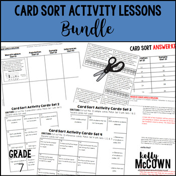 7th Grade Math Card Sort Activity Lessons and Cut & Paste Activities BUNDLE
