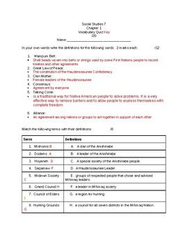 Grade 7 Alberta Social Studies Chapter 1 Vocabulary Quiz(Nelson)