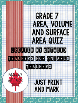 Grade 7 Area, Surface Area and Volume Quiz