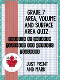 Grade 7 Area, Surface Area and Volume Quiz