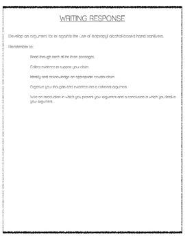CCSS Argumentative Writing - Hand Sanitizer