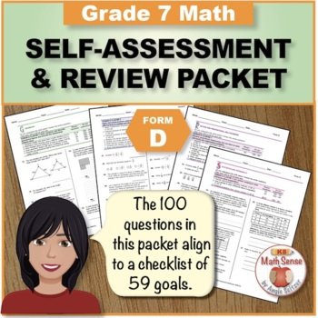 Grade 7 CCSS Math Self-Assessment and Review Packet ~ Form D
