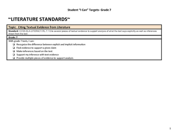 """Grade 7 Common Core """"I Can"""" Statements for Reading"""