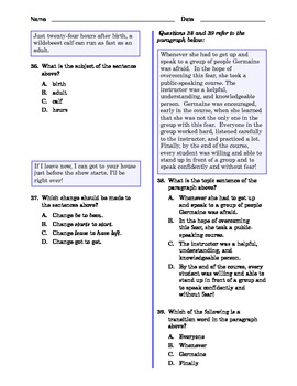 Grade 7 Common Core Language and Writing Practice #8