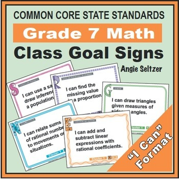 Grade 7 Common Core Math Communication Bundle (Posters, Goal Signs, Checklists)