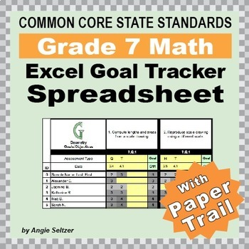 Grade 7 Common Core Math EXCEL Goal Tracker Spreadsheet wi
