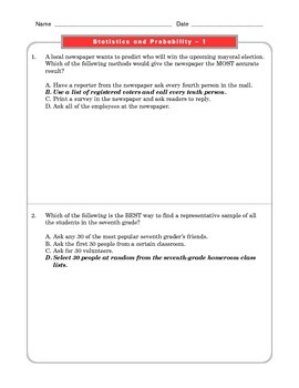 Grade 7 Common Core Math Worksheets: Statistics and Probability 7.SP #1 FREE